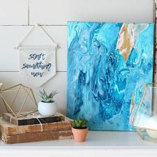 Acrylic Poured Canvas Art