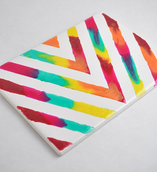 Painting Ideas With Tape: Rainbow Glass Stained Chevron Art Tile