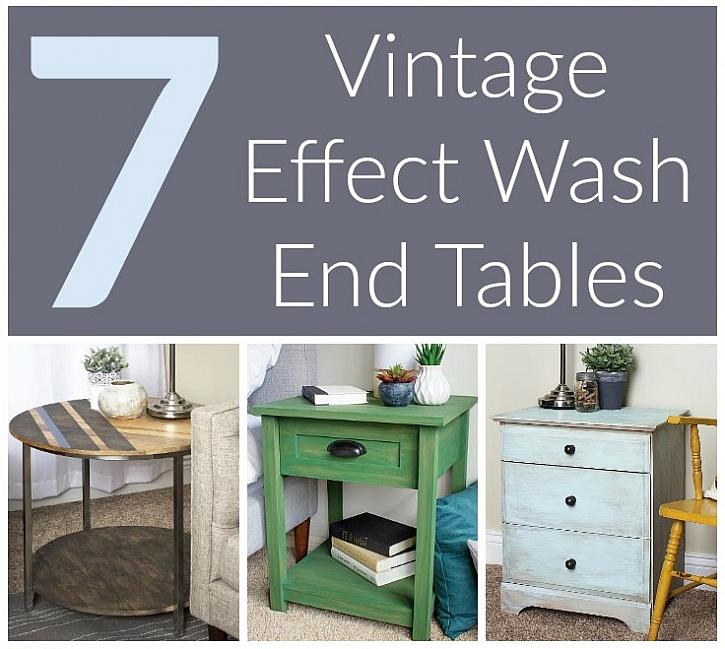 7 Vintage Effect Wash End Tables